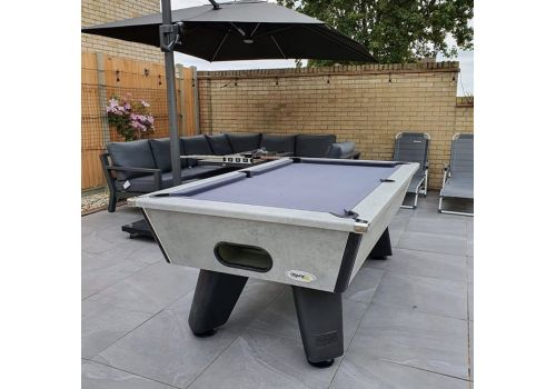 Outdoor Grey Wolf Pool Table by Cry Wolf in Urban Grey With Bankers Grey Cloth