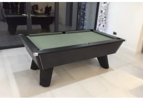 Black Wolf Matt Black Original Tournament Edition Pool Table with Elite Pro American Green