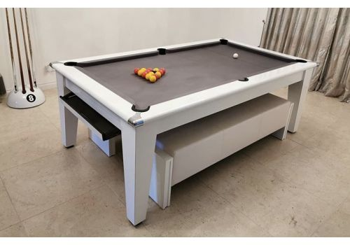 The Classic Diner Gloss White Pool Table with Smart Silver Cloth