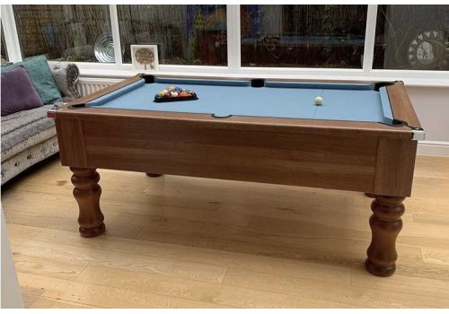 CryWolf French Walnut Round/Turned Leg Pool Table with Smart Powder Blue Cloth