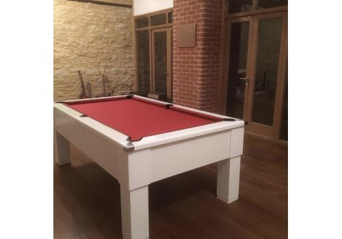 CryWolf Gloss White Square Leg Pool Table with Smart Red Cloth