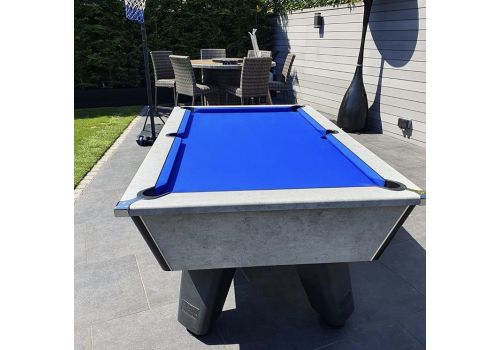 Outdoor Grey Wolf Pool Table by Cry Wolf in Urban Grey With Royal Blue