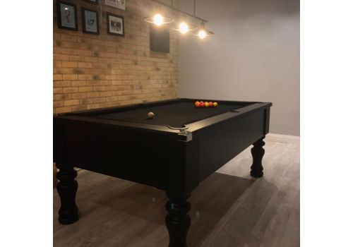 Cry Wolf Geordie Pool Table in Matt Black with Round/Turned Legs and Smart Black Cloth