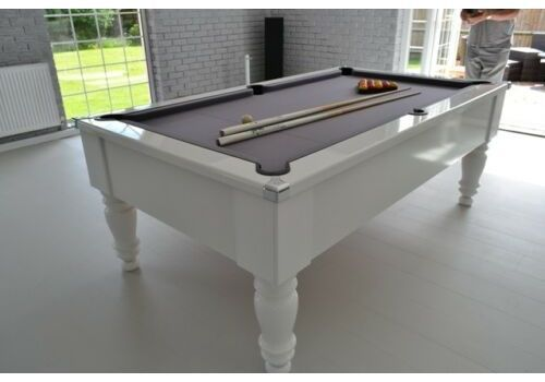 CryWolf Gloss White Classic Leg Pool Table with Smart Pewter cloth