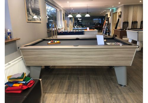 Classic slate bed pool table by Optima in Driftwood with Special Edition Pewter