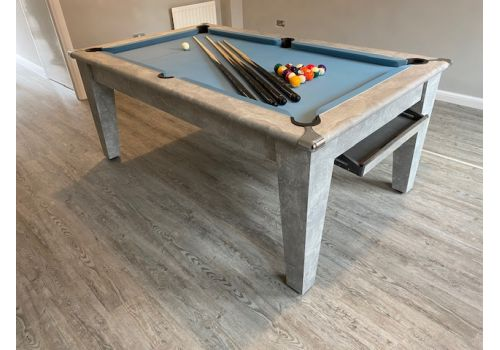 Italian Grey Classic Diner Pool Dining Table - Elite Pro Powder Blue