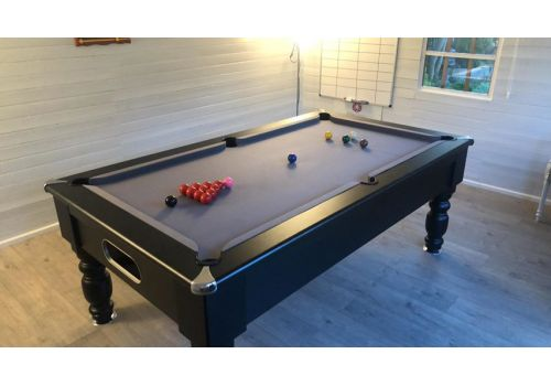Optima | Rennes | Special Edition | Black | Slate Pool Table | Silver/Grey Cloth