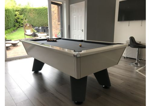 White Wolf Cry Wolf Pool Table with Pewter Cloth White Edging and Dark Grey Legs