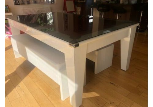 The Classic Diner Gloss White Pool Table with Glass Lids
