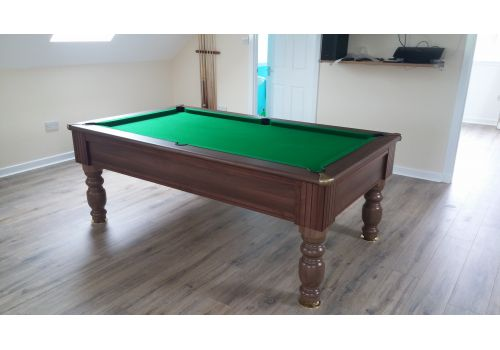Monaco slate bed pool table by Optima in Dark Walnut with Smart Olive