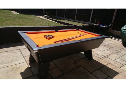 Black Wolf Matt Black Cry Wolf Original Tournament Edition Pool Table Elite Pro Orange Cloth