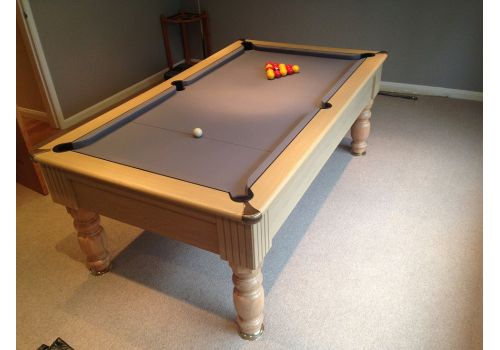 Monaco slate bed pool table by Optima in Light Oak with Smart Silver