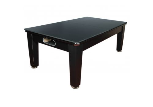 Optima Roma Pool Dining Table in Black with Smart Silver Cloth