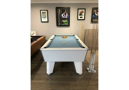 Optima | Classic | White | Slate Pool Table | 6ft & 7ft | Smart Powder Blue