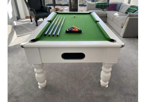 Special Edition Rennes slate bed pool table by Optima in white with Club Green Cloth