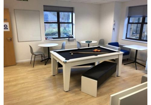 Gatley Classic Diner Pool Table in White with Smart Black + White Benches with Black Upholstery