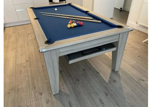 Gatley Classic Diner Pool Table in Driftwood with Smart Slate Blue Cloth