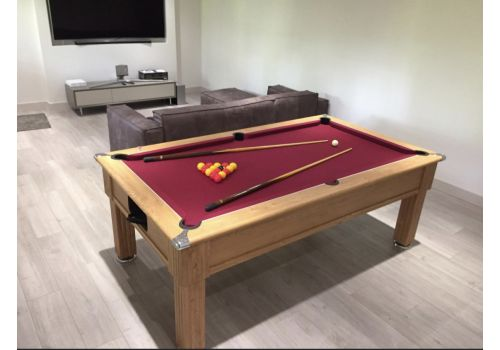 Gatley Traditional Pool Table - Supreme Slimline Prince Pool Table - Club Burgundy Cloth