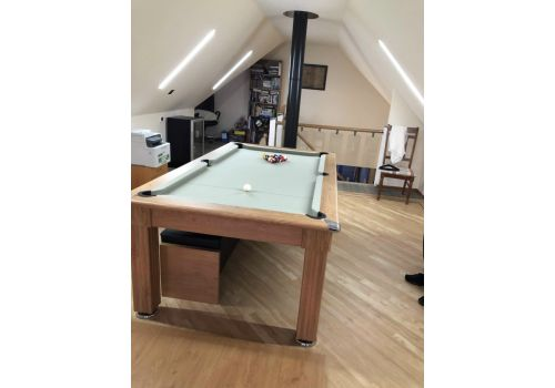 Gatley Traditional Diner Pool Table in Oak with Smart Sage Cloth