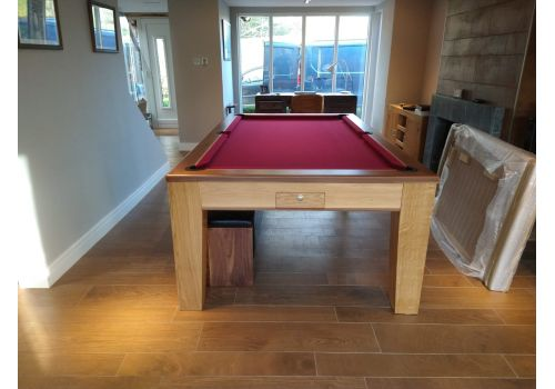 Rex Hardwood Fusion Icon Luxury Pool/Snooker Dining Table 7ft & 8ft Burgundy Cloth