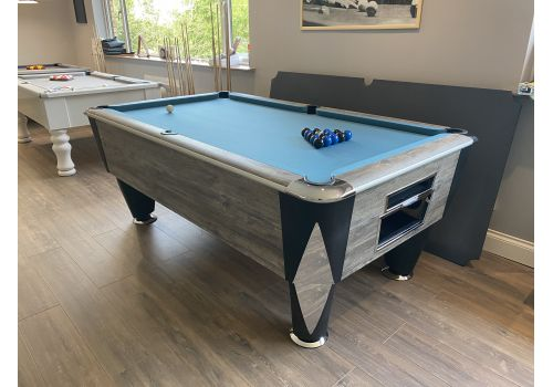 Sam | Atlantic Champion | Blue Oak | Luxury Slate Pool Table | 6ft & 7ft Sizes | Hainsworth Match Blue