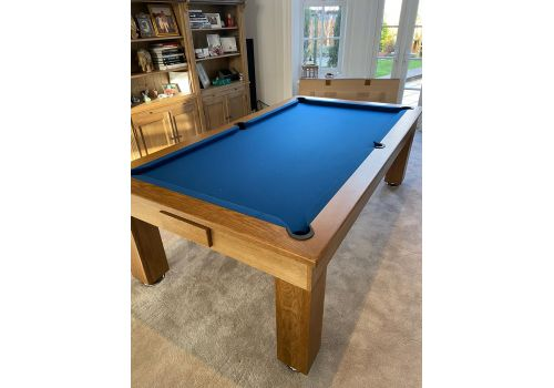 Rex Hardwood | Badger | Luxury Slate Pool Dining Table | 8ft | Rustic Oak Slate Blue