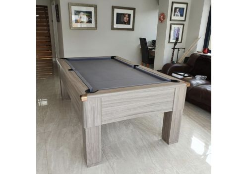 Cry Wolf Driftwood Square Leg Slate Pool Table with Smart Silver Cloth and Rose Gold Corners