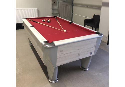 Sam | Atlantic Champion | Polar Oak | Luxury Slate Pool Table | Red