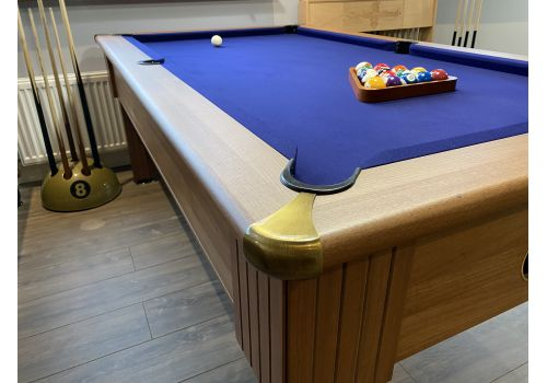 Optima Paris slate bed pool table in Walnut with brass corners/feet and Smart French Navy Cloth