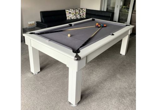 Optima Verona Pool Dining Slate Bed Pool Table in White with Smart Silver Cloth