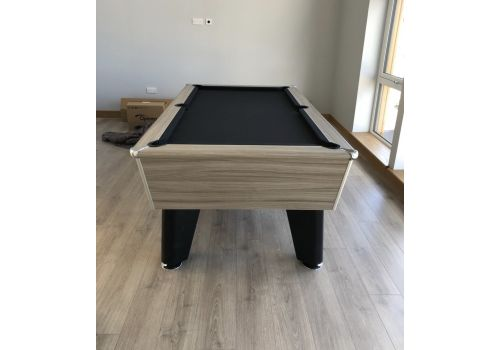 Optima  Classic Pool Table in Driftwood with Black Cloth and Legs
