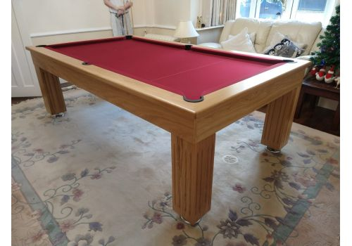 Rex Hardwood | Badger | Luxury Slate Pool Dining Table | 8ft | Solid Natural Oak Burgundy