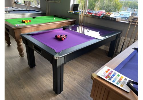 Optima | Florence | Black | Slate Pool Dining Table | 6ft & 7ft Sizes | Purple Cloth | Tinted Glass Tops