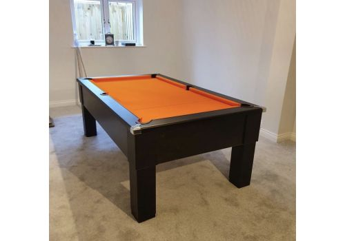 CryWolf Matt Black Square Leg Pool Table with Smart Orange Cloth