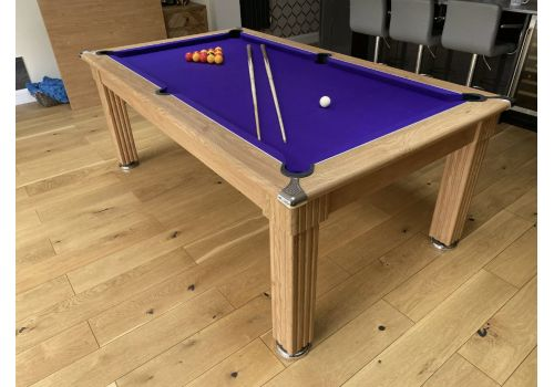 Gatley Traditional Diner Pool Table in Oak with Smart Purple Cloth