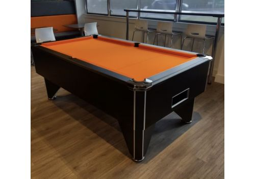 FMF Tournament Pro Black Slate Bed Pool Table with Elite Pro Orange Cloth