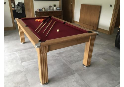 Gatley Traditional Diner Pool Table in Oak with Smart Maroon Cloth
