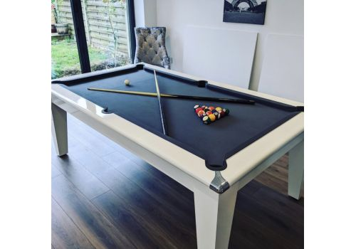 Gatley Classic Diner Slate Bed Gloss White Pool Table with Smart Pewter Cloth