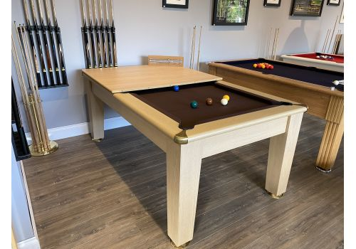 Roma pool dining table in light oak with nutmeg cloth