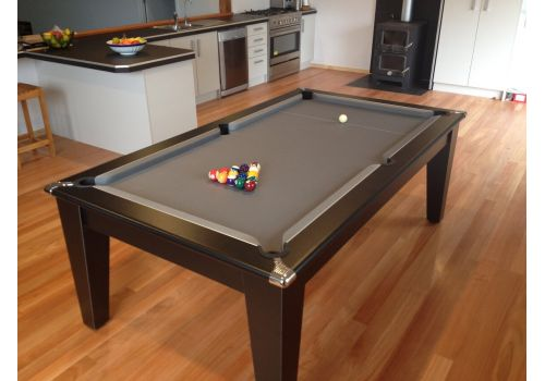 Classic Diner Pool Table in Black by Gatley with Smart Silver Cloth