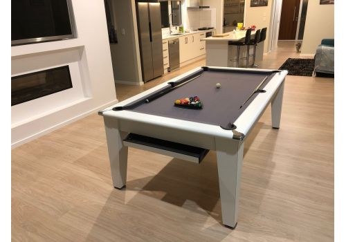 Gatley Classic Diner Matt White Slate Pool Dining Table In 7ft Size with Smart Silver Cloth