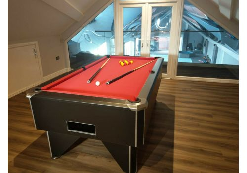 FMF Tournament Pro Black Slate Bed Pool Table with Elite Pro Red Cloth