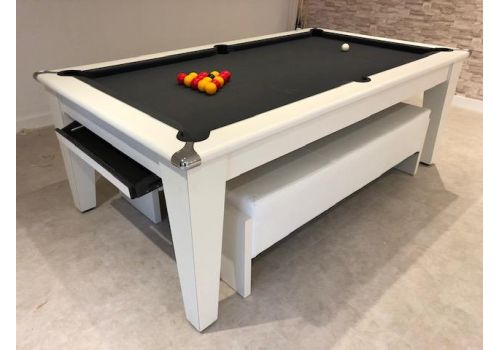Gatley Classic Diner Matt White Slate Pool Dining Table In 7ft Size with Smart Pewter Cloth