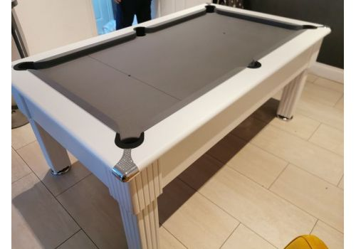 Gatley Traditional White Slate Pool Table 6ft & 7ft | Silver Cloth